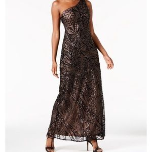 R & M Richards Black Sequin One Shoulder Dress